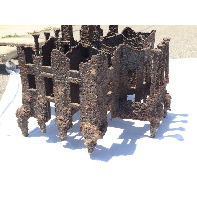 Iron Torch-Cut Brutalist Sculpture Coffee Table - Image 8 of 9