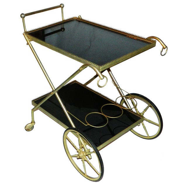 Vintage French Cart with Black Opaline Tray - Image 1 of 2