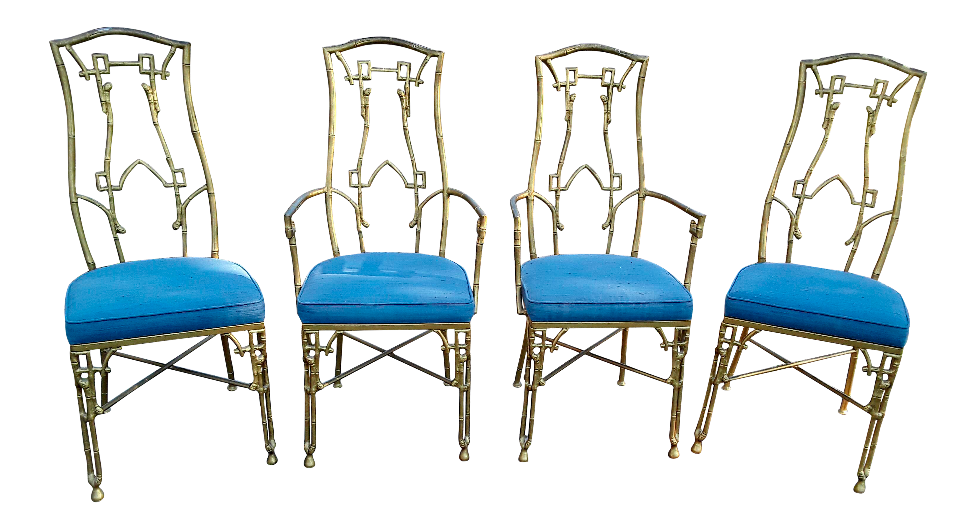 hollywood regency faux bamboo dining chairs set of 4