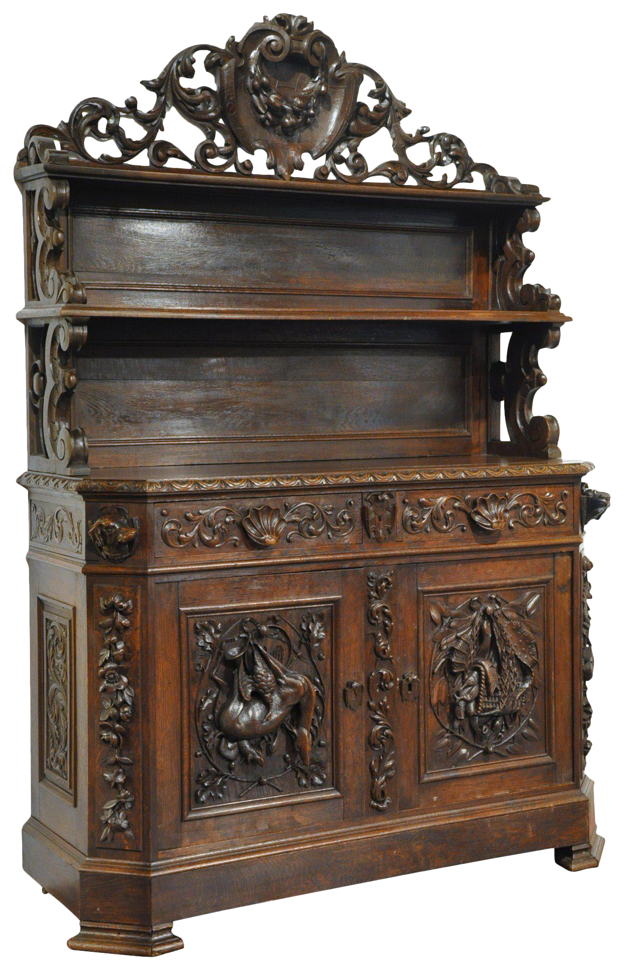 Charming 19th Century French Carved Black Forest Buffet With Display Shelf