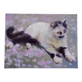 Vintage Russian Cat Painting