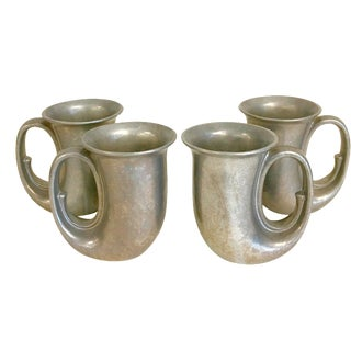Pewter Horn Mugs- Set of 4