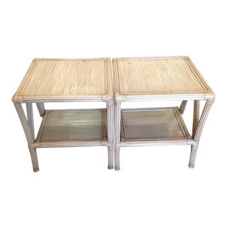 Crushed Bamboo Cathedal End Tables - a Pair