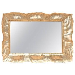 Monumental Italian 24-Karat Gold Leaf over Wood Beveled Ridged Horizontal Mirror