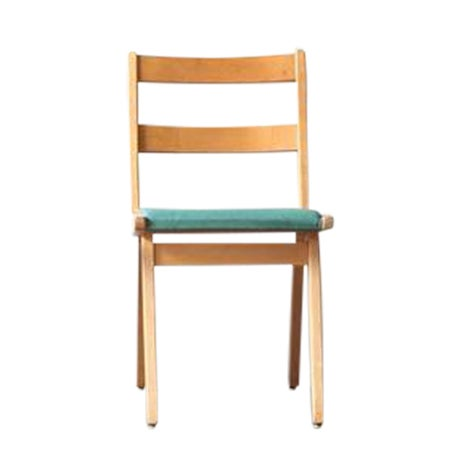 Maple & Turquoise Vinyl Side Chair - Image 1 of 7