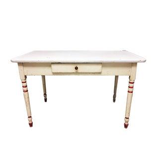 Vintage White Enamel Farmhouse Table