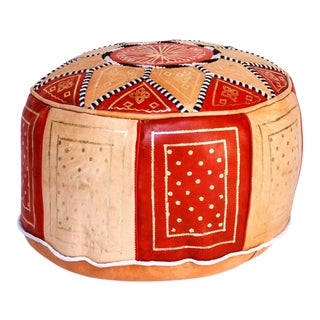 Tan & Red Moroccan Leather Pouf