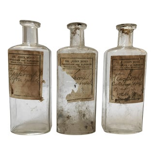 Antique Glass Pharmacy Prescription Bottles - Set of 3