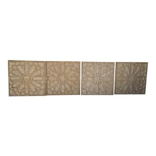 West Elm Geometric Wood Stone Carved Wall Art - Set of 4