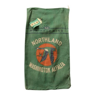 "Vintage ""Northrup & King"" Green Alfalfa Farm Sack"