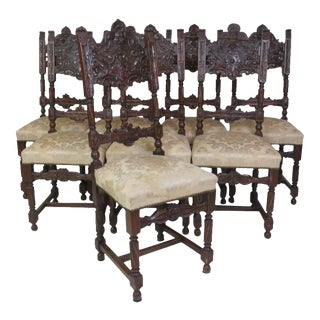 19th Century Carved Dining Chairs - Set of 8