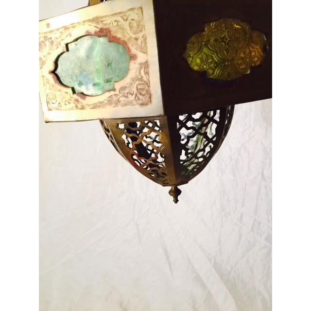 Small Moroccan Brass & Glass Chandelier - Image 5 of 7