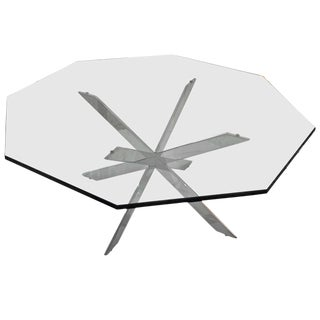 Iconic Double X-Base Chrome and Glass Cocktail Table: Leon Rosen for Pace
