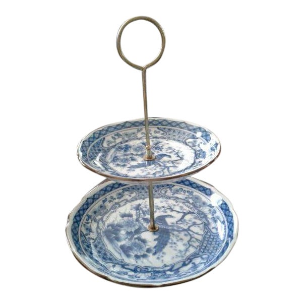 Vintage Oriental Blue Peacock Dessert Tray - Image 1 of 4