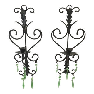 Hollywood Regency Metal Green Crystal Sconces - a Pair