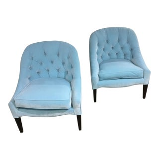 Mid-Century Modern Turquoise Chairs -A Pair