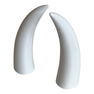 Tackett Era Porcelain Horn Salt & Pepper Shakers