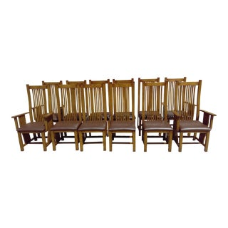 Arts & Crafts Style Dining Chairs - Set of 12
