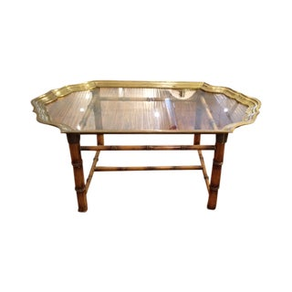 Vintage Brass, Glass & Faux Bamboo Table