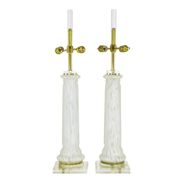 Image of Pair Lucite, Murano Glass, And Brass Table Lamps