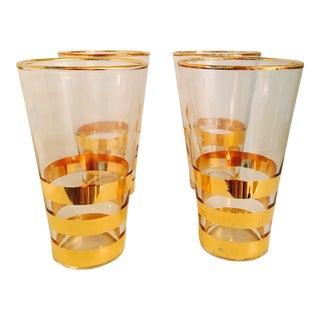 Vintage Mid-Century Gold Rimmed Hi-Ball Cocktail Glasses - Set of 4