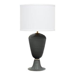 Single Gray Ridged Murano Glass Lamp