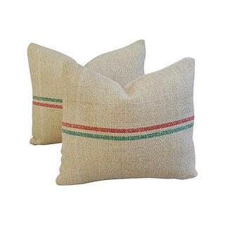 Custom French Grain Sack Textile Pillows - a Pair