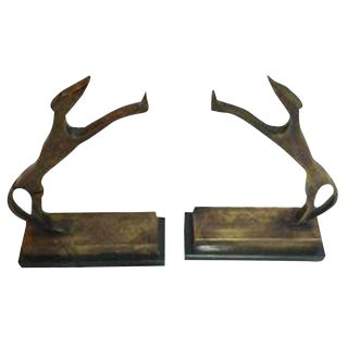 Antique Brass Dog Bookends - a Pair