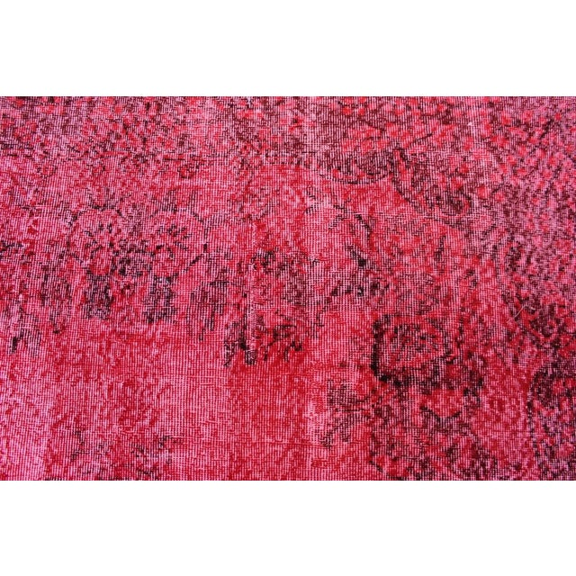 "Vintage Turkish Red Overdyed Rug - 6'2"" X 10'3"" - Image 4 of 8"