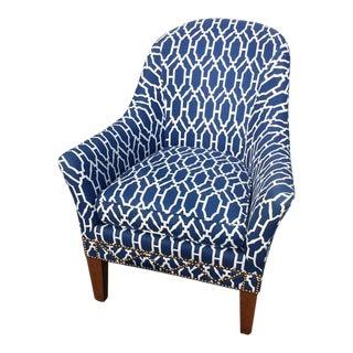Custom Blue & White Club Chair