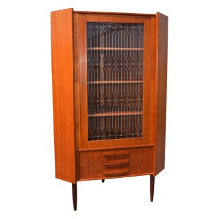 Danish Modern Teak Corner Cabinet With Etched Glass