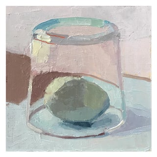"""Blue Egg Under Glass"" Oil Painting on Linen"