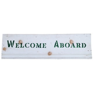 "Vintage Green & White ""Welcome Aboard"" Wooden Sign"