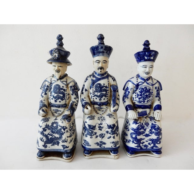 Blue and White Emperors Figures - Set of 3 - Image 3 of 6