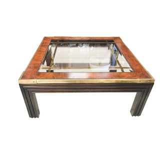 Brass, Wood and Smoked Glass Coffee Table