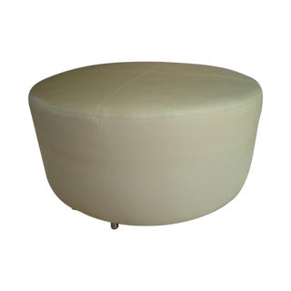 Custom White Leather Ottoman