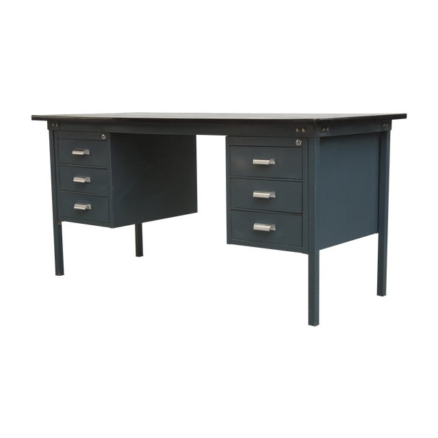 Image of Navy Blue Industrial Desk
