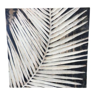 Black & Nartural Distressed Carved Palm Leaf Wall Hanging
