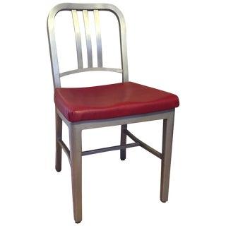 Emeco Silver & Red Leather Navy Chair