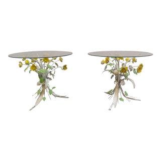 Vintage Italian Florentia Tole Floral Motif Side Tables - a Pair