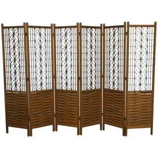 Mid-Century Six Panel Folding Geometric Screen