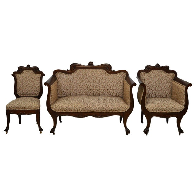 Antique Mahogany 3pc Parlor Set : Settee , Arm Chair , Chair - Image 11 of 11