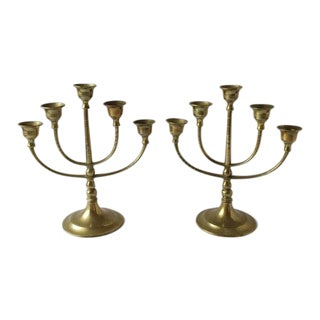 Vintage Brass Candelabra With Rotating Arms - A Pair