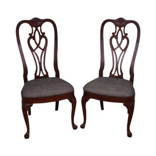 Ethan Allen 18th Century Collection Mahogany Side Dining Chairs - a Pair