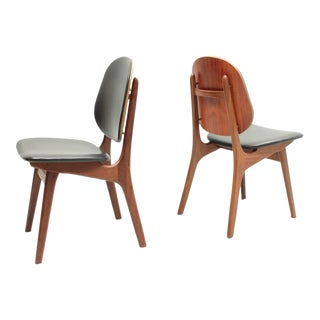 Set of Six Black Leather and Teak Chairs by A. Hovman-Olsen