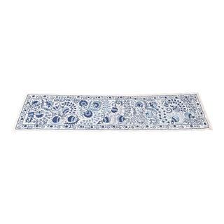 Blue Suzani Silk Table Runner