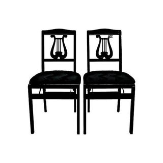 Folding Lyre-Back Chairs - Pair