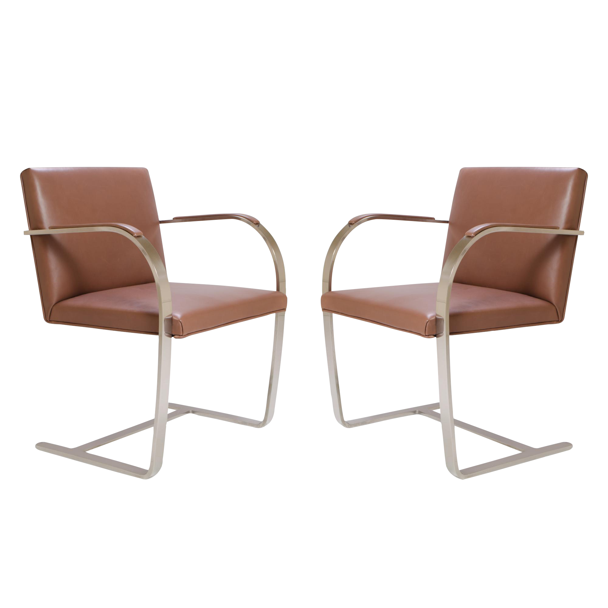 mies furniture. mies van der rohe for knoll cognac leather brno flatbar chairs a pair furniture