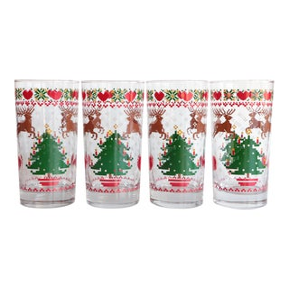 8-Bit Pixel Style Christmas Glasses - Set of 4