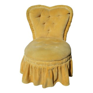 Yellow Velvet Heart Shaped Chair